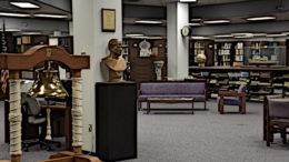 A library lobby.
