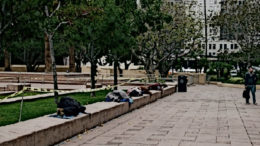 Homeless sleep in a park