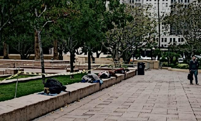 Homeless sleep in a park