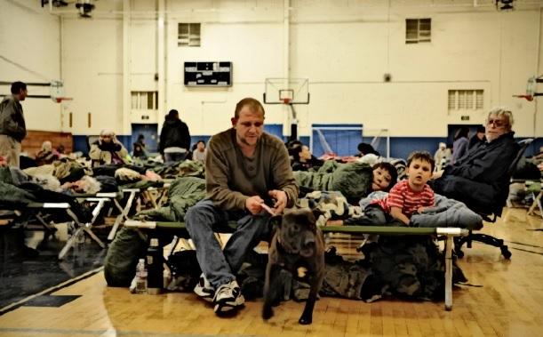 An emergency homeless shelter.