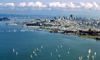 An aerial view of the city of san francisco.