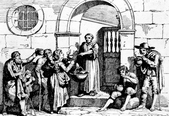 The homeless receive food from a saint in an illustration.
