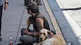 A man panhandles for money with his dog.