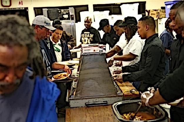 A homeless shelter serves meals.