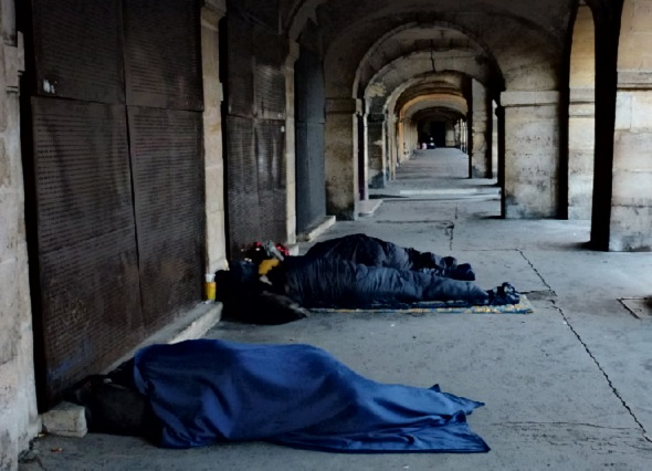 homeless sleeping outside during the day